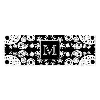 Custom Monogram on Monochrome Paisley Pattern. Pack Of Skinny Business Cards