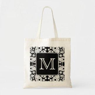 Custom Monogram on Monochrome Paisley Pattern. Tote Bag