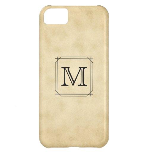 Custom Monogram on Parchment Style Pattern iPhone 5C Case