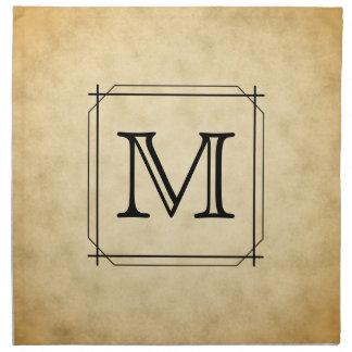 Custom Monogram on Parchment Style Pattern Napkin