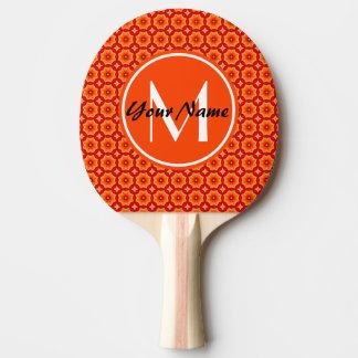 Custom Monogram Orange Abstract Decorative Floral Ping Pong Paddle