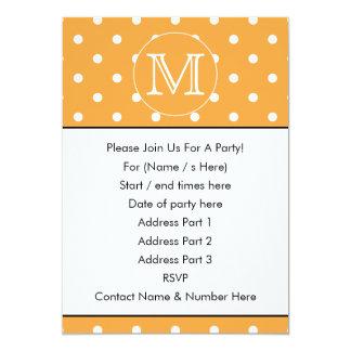 Custom Monogram. Orange and White Polka Dot. Card