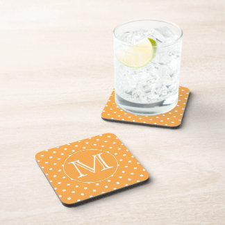 Custom Monogram. Orange and White Polka Dot. Coaster