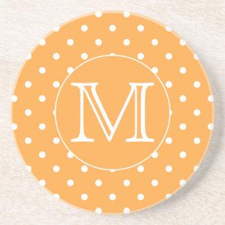 Custom Monogram. Orange and White Polka Dot. Coasters