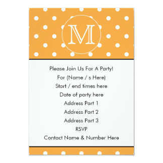 Custom Monogram. Orange and White Polka Dot. 5x7 Paper Invitation Card