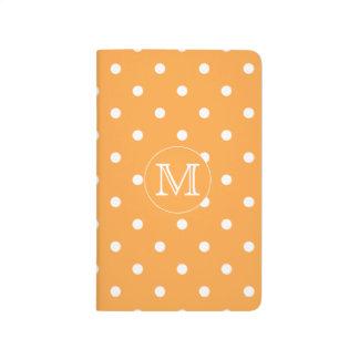 Custom Monogram. Orange and White Polka Dot. Journal
