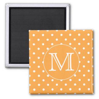 Custom Monogram. Orange and White Polka Dot. Square Magnet