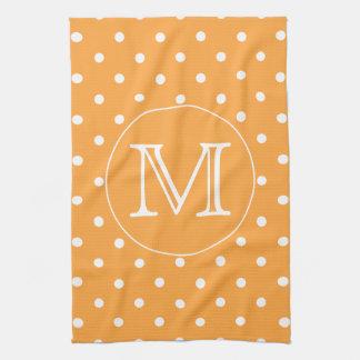 Custom Monogram. Orange and White Polka Dot. Tea Towel