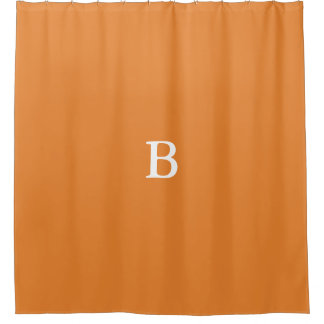 Custom Monogram Orange Shower Curtain