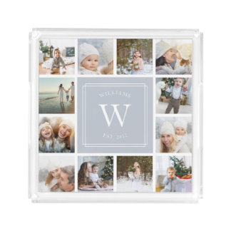 Custom Monogram Photo Collage Acrylic Tray