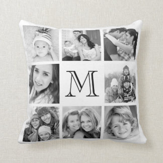 Custom Monogram Photo Collage Cushion