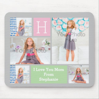 Custom Monogram Photo Collage Pink/Green/Gray Mouse Mat