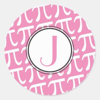 Custom Monogram Pi Symbols Pink Round Sticker