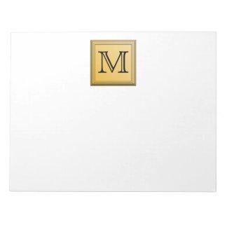 Custom Monogram Picture, nonmetallic gold colors. Notepad