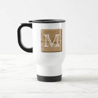 Custom Monogram. Picture of Light Brown Wood. Travel Mug