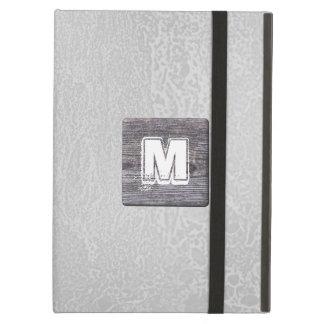 Custom Monogram. Picture of Wood, Rustic. iPad Air Cover
