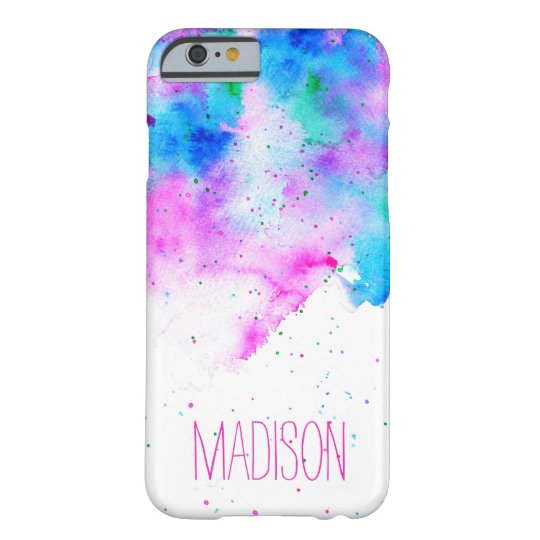 Custom monogram pink blue watercolor brushstrokes barely there