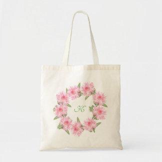 Custom Monogram Pink Dahlias Tote Bag