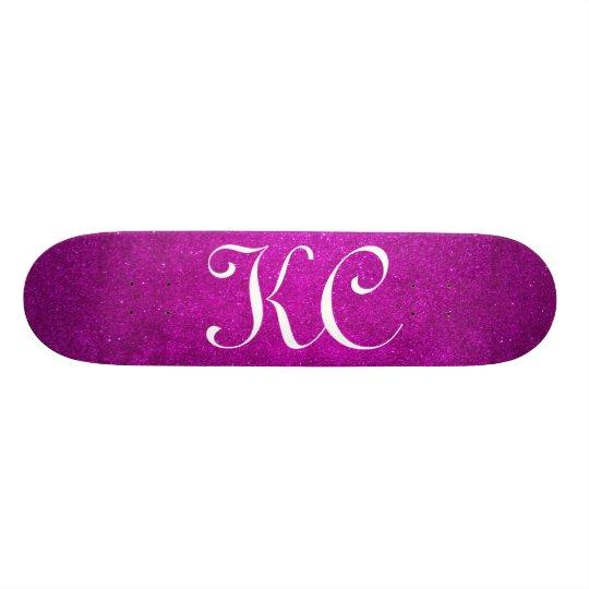 Custom monogram pink glitter skateboard deck