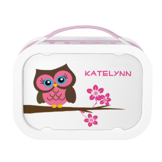 Custom Monogram Pink Owl Lunch Box