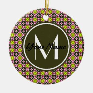 Custom Monogram Pink Yellow and Green Batik Patter Round Ceramic Decoration