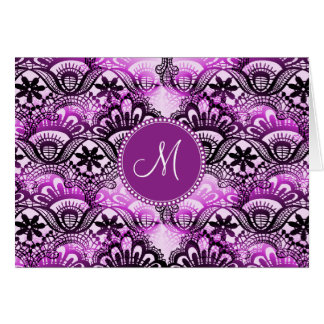 Custom Monogram Purple Lace Damask Pattern Note Card