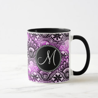 Custom Monogram Purple Lace Damask Pattern Mug