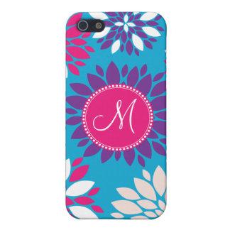 Custom Monogram Purple Pink White Flower on Blue iPhone 5/5S Case