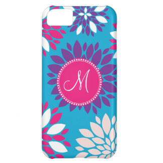 Custom Monogram Purple Pink White Flower on Blue iPhone 5C Case
