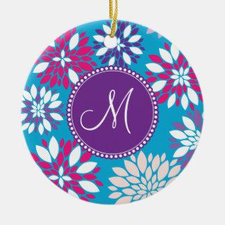 Custom Monogram Purple Pink White Flower on Blue Round Ceramic Decoration