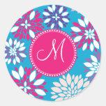 Custom Monogram Purple Pink White Flower on Blue Round Sticker