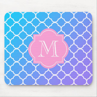 Custom Monogram Quatrefoil Blue & Pink Mousepad