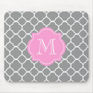 Custom Monogram Quatrefoil Grey & Pink Mousepad