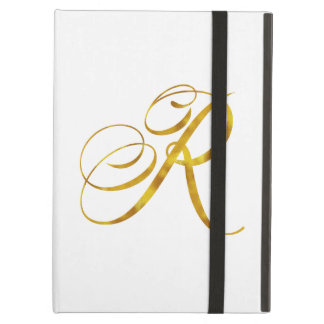 Custom Monogram R Faux Gold Foil Monograms Initial Case For iPad Air
