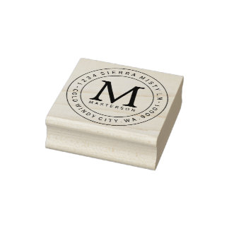 Custom Monogram Rubber Address Stamp