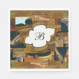 Custom Monogram Stringed Instrument Collage Disposable Serviettes