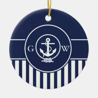 Custom Monogram Striped Nautical Anchor and Line Christmas Ornament