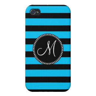 Custom Monogram Teal Blue and White Stripe Pattern iPhone 4 Case