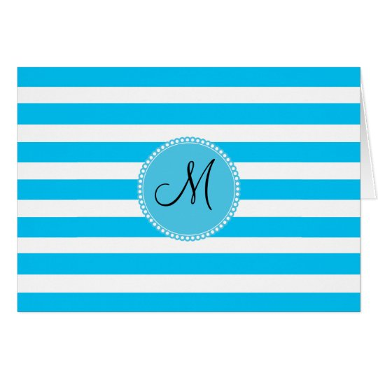 Custom Monogram Teal Blue and White Striped Card