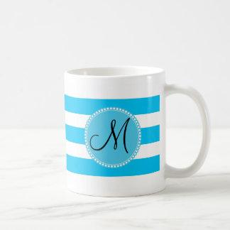 Custom Monogram Teal Blue and White Striped Basic White Mug