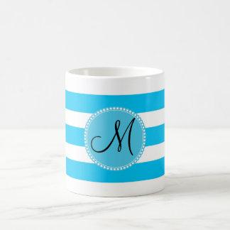 Custom Monogram Teal Blue and White Striped Mug