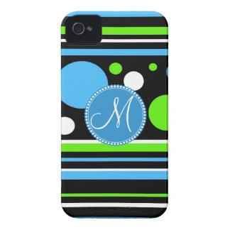 Custom Monogram Teal Green Stripes Polka Dots iPhone 4 Cases