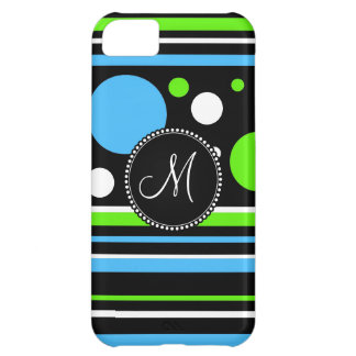 Custom Monogram Teal Green Stripes Polka Dots iPhone 5C Case