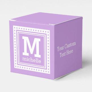 Custom monogram, text & color favor boxes