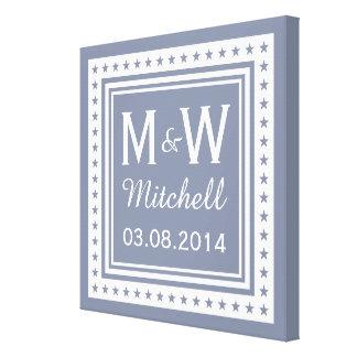 Custom monogram, text & color wedding canvas
