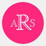 Custom Monogram Three Letter Hot Pink Wedding Seal Stickers