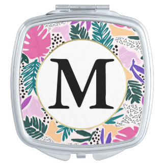 Custom Monogram  Tropical Pattern Compact Mirror