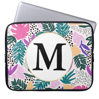 Custom Monogram  Tropical Pattern Laptop Sleeve