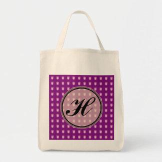 Custom monogram tulip design tote bag