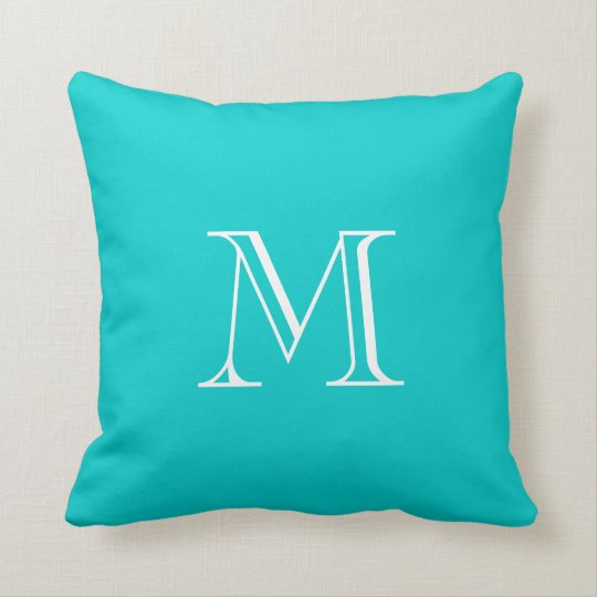 Custom Monogram Turquoise Pillow